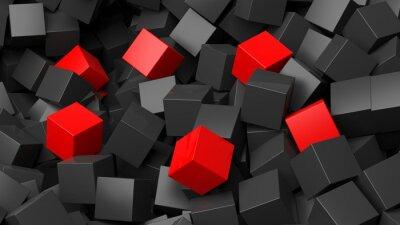 Fotomural 3D, pretas, vermelho, cubos, pilha, abstratos, fundo