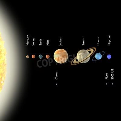 Fotomural 3d rendem do sistema solar