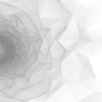 Fotomural 3D, túnel, caótico, polygonal, superfície