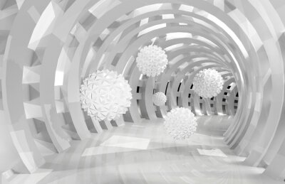 Fotomural 3d wall tunnel with flying balls 3d rendering