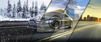 Fotomural 4 seasons on the road car