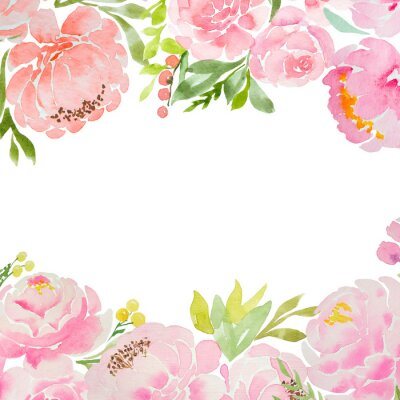 Fotomural A beautiful square blank for a card with careless watercolor pink peonies and roses and a white background. For a wedding, a birthday. Delicate pastel colors for design.