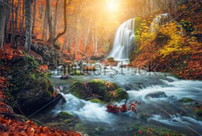 Fotomural A cachoeira bonita no rio da montanha na floresta colorida do outono com vermelho e laranja sae no por do sol. Paisagem natureza