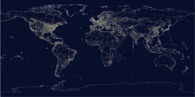 Fotomural A cidade da terra ilumina o mapa político
