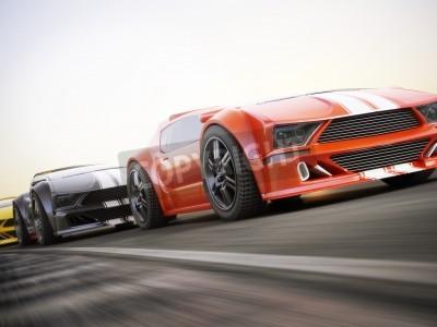 Fotomural A corrida, Exotic carros esportivos corridas com motion blur. Rendição 3d realística da foto feita sob encomenda genérica.
