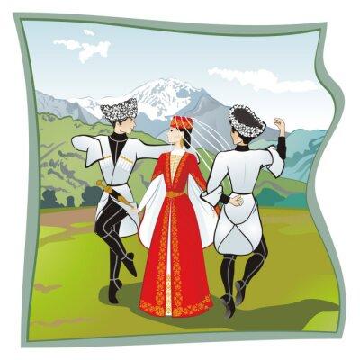 Fotomural A dança Lezginka, Danças do do Cáucaso do Norte. Dois homens e uma mulher dançando na grama lezginka Ossétia. Nas montanhas de fundo, ilustração vetorial