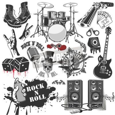 Fotomural A imagem vetorial do conjunto de símbolos de vetores relacionados ao rock and roll