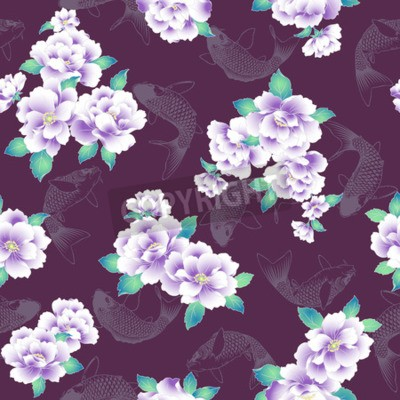 Fotomural A Japanese style peony pattern.