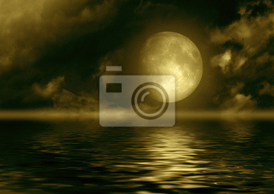 Fotomural A lua cheia refletida na água