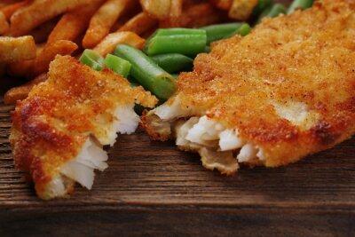 Fotomural À milanesa frito filé de peixe e batatas com espargos