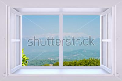 Fotomural A natureza por trás de uma janela de renderização 3d com foto inserida