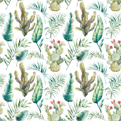 Fotomural A palmeira, o cacto e a banana do verão saem do teste padrão sem emenda. Ramos verdes da aquarela e planta carnuda de florescência no fundo branco. Design de papel de parede exótico