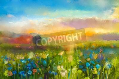 Fotomural A pintura a óleo floresce dente-de-leão, cornflower, margarida nos campos. Paisagem do prado do por do sol com wildflower, monte e céu no fundo alaranjado e azul da cor. Mão, pintura, verão, floral, i