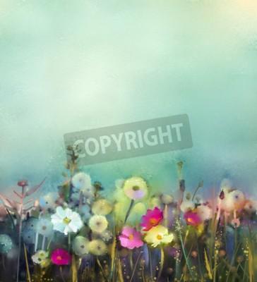 Fotomural A pintura a óleo floresce o dente-de-leão, a papoila, a margarida nos campos. Mão, pintura, wildflowers, campo, verão, prado. Natureza sazonal floral da mola com o azul - verde no fundo macio da cor.