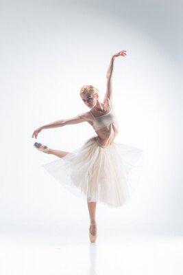 Fotomural A silhueta da bailarina no fundo branco