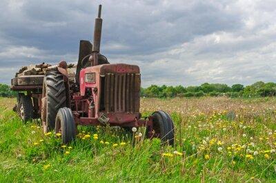 Fotomural Abandonado velho trator vermelho em uma fazenda no campo