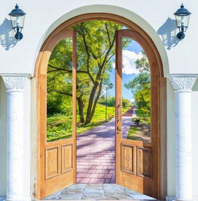 Fotomural aberto escada porta