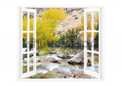 Fotomural Abra a janela com a bela natureza em um fundo