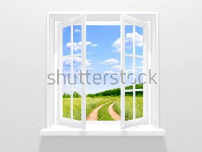 Fotomural Abra a janela e estrada velha