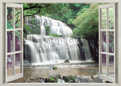 Fotomural Abra a janela para as famosas Cataratas Purakaunui