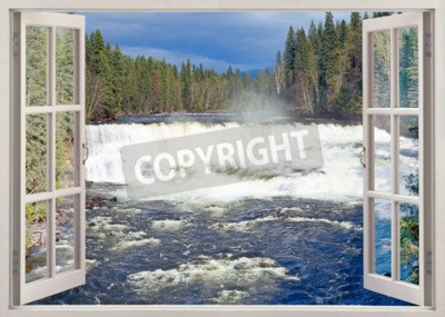 Fotomural Abra a janela para Dawson Falls, Murtle River, Wells Gray Provincial Park, Colúmbia Britânica, Canadá