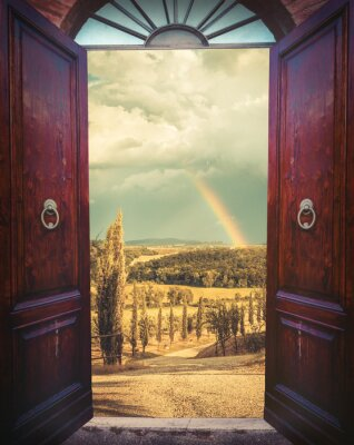 Fotomural Abra a porta e paisagem