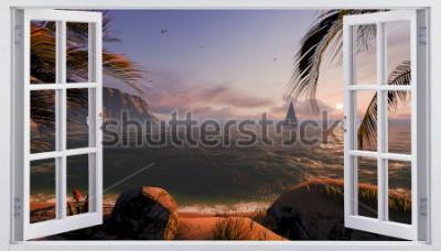 Fotomural Abrir janela com vista para o mar