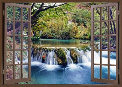 Fotomural Abrir janela para fluxo de água