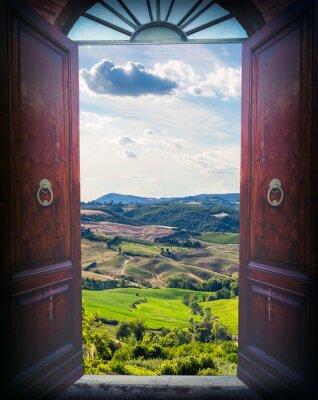 Fotomural Abrir porta e paisagem