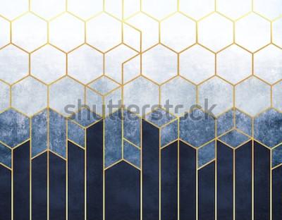 Fotomural Abstração geométrica de hexágonos em um fundo azul em relevo com elementos de ouro. Afresco para impressão de interiores, Papéis de parede.