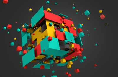 Fotomural Abstract 3D Rendering of Flying Cubes.