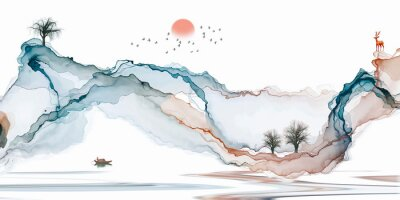 Fotomural Abstract background ink line decoration painting landscape artistic conception