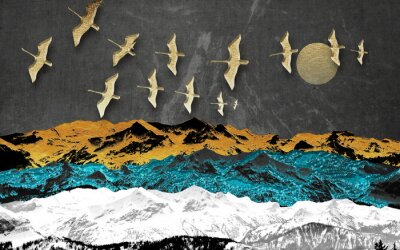Fotomural Abstract colored mountains on a dark background, full moon, flock of birds
