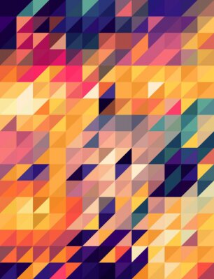 Fotomural Abstract golden and blue triangles background
