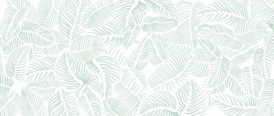 Fotomural Abstract leave background pattern vector. Tropical monstera leaf design wallpaper. Botanical texture design for print, wall arts, and wallpaper.