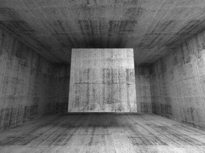 Fotomural Abstract quarto cinzento interior. Fundo 3d com cubo de vôo