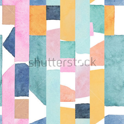 Fotomural Abstract watercolor seamless pattern. Artwork in geometric modern style.