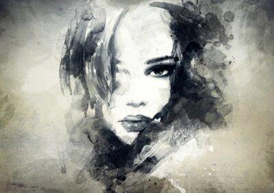 Fotomural abstrata do retrato da mulher