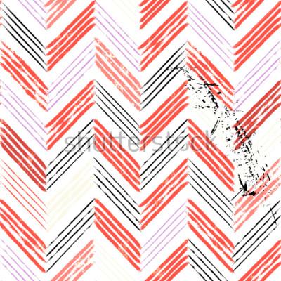 Fotomural abstrato, com traços e espirra, sem costura padrão em zigue-zague