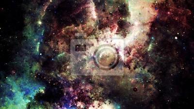 Fotomural Abstrato de Digitas de uma galáxia e de estrelas brilhantes e coloridas da nebulosa