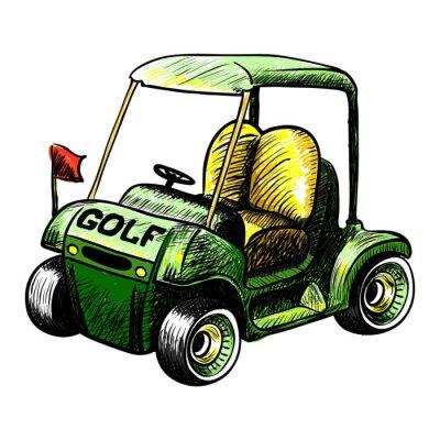 Fotomural Abstrato isolado vector carrinho de golfe. Linha cor esboço vector