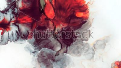 Fotomural Abstrato vermelho. Macro Células. Flor Vermelha. Tintas acrílicas. Textura de mármore Arte contemporânea.