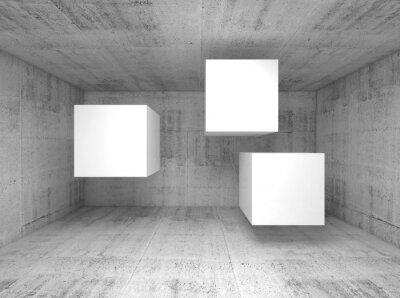 Fotomural Abstratos, concreto, interior, voando, cubos 3 d