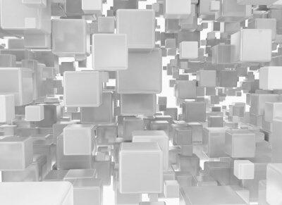 Fotomural Abstratos, fundo, metálico, cubos