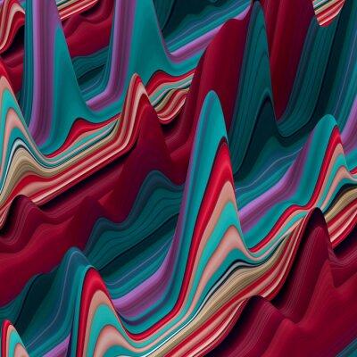 Fotomural abstratos linhas onduladas coloridas, 3d fundo