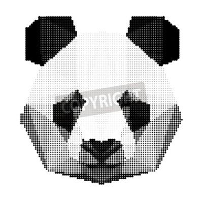 Fotomural Abstratos, monocromático, panda, urso, Retrato, isolado, branca, fundo, uso, desenho, cartão, convite, cartaz, bandeira, cartaz
