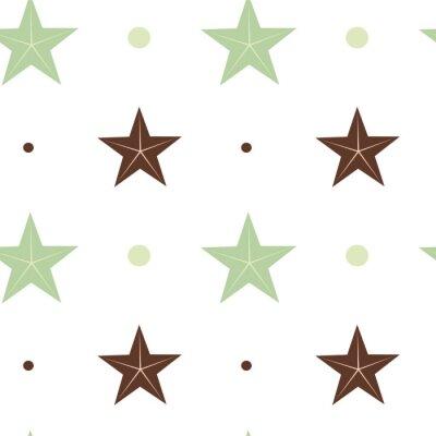 Fotomural Abstratos verde e Marrom estrelas seamless vetorial Padrão fundo Ilustração em Escandinavo cores