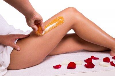 Fotomural Adoça: depilação com açúcar liquefazer as pernas.