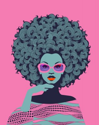 Fotomural Afro American woman art portrait with pink sunglasses. Mid century modern retro style. Eps10 vector