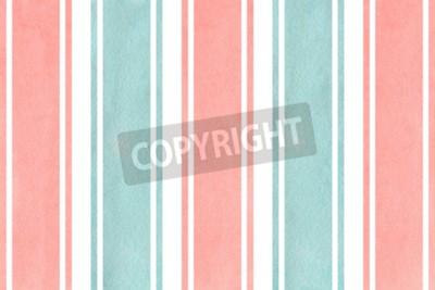 Fotomural Aguarela cor-de-rosa e fundo listrado azul. Teste padrão geométrico da aguarela.